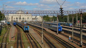 Railway station time-lapse in Odessa, Ukraine. (Full HD stock video footage