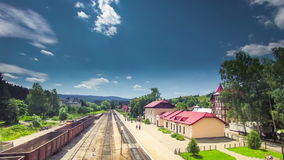 Railway station time lapse Ukraine rail. West stock footage
