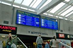 Railway station timetable in Katowice Royalty Free Stock Photo