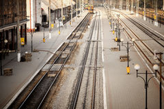 Railway station. top view. Train station no man Royalty Free Stock Photography