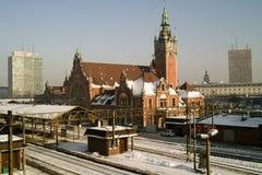 Railway station and train. Stock Photos