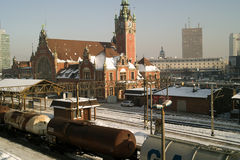 Railway station and train. Stock Photos