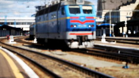 Railway station,  train, blurred, transportation. The train station, the blurred background, the diesel locomotive Full HD stock footage