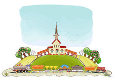 Railway station and train illustration Royalty Free Stock Photography