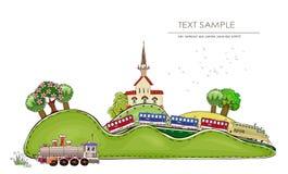 Railway station and train illustration Stock Photo