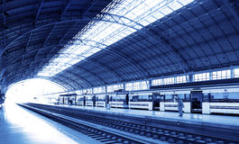 Railway station on blue tone Royalty Free Stock Photography