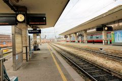 Railway station. Train waiting at the railway station Royalty Free Stock Image