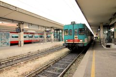 Railway station. Train waiting at the railway station Royalty Free Stock Photography