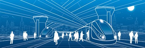 Railway station under the overpass. Passengers board the train. Urban life scene. City Transport infrastructure. Vector design out vector illustration