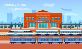 Railway station, vector flat background Stock Photography