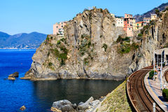 Railway Station in the Village of Manarola Royalty Free Stock Photos