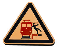 Railway station warning sign dangerous trains Stock Photos