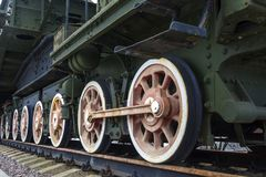 Wheels of vintage steam locomotive stock photo