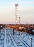 Railway station in winter Royalty Free Stock Images