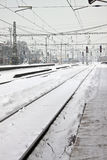 Railway station in winter Royalty Free Stock Photo