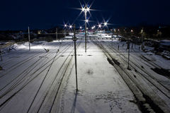 Railway station in winter Royalty Free Stock Photography