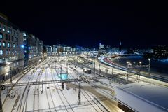 Railway Station in Winter Royalty Free Stock Image