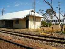 Railway station. A working railway station in outback Australia Stock Image