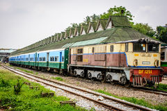 A train at the central railway station of Yangon, Myanmar, May-2017 Royalty Free Stock Photos