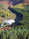 Steam train winding its way through a wooded valley. Railway with steam train winding its way through a wooded valley in Newtondale Forest, as seen from Skelton Royalty Free Stock Images