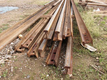 Railway steel beams  Royalty Free Stock Photo