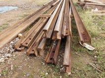 Railway steel beams  Royalty Free Stock Photo