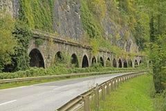 Railway stone fall protector. The Badlwandgalerie, a historic railway stone fall protector in Styria, Austria Royalty Free Stock Image