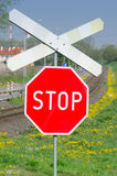 Railway stop sign Royalty Free Stock Photo