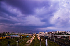 Railway and storm clouds Stock Images