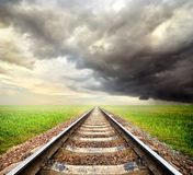 Railway and storm clouds Royalty Free Stock Photo