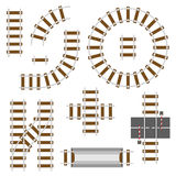 Railway structural elements. Top view railroad tracks vector set Stock Photography