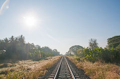 Railway and sun Stock Photo