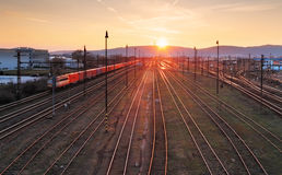 Railway at sunet Royalty Free Stock Image