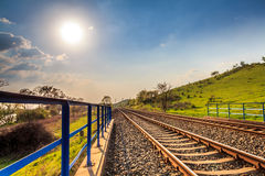 Railway during a sunny day. Landscape  photography Stock Photography