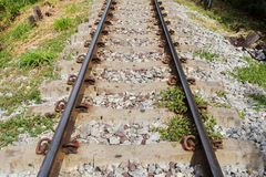 Railway in sunny day. Thailand. It is classical railway Royalty Free Stock Images