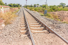 Railway in sunny day, Thailand. It is classical railway. Stock Photos