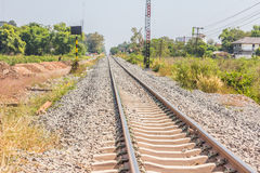 Railway in sunny day, Thailand. It is classical railway. Royalty Free Stock Images