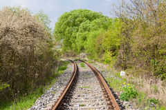 Railway in sunny spring day Royalty Free Stock Images
