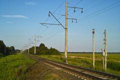 Railway in sunny summer day Royalty Free Stock Images