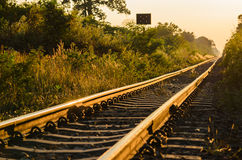 Railway and sunrise Royalty Free Stock Photos