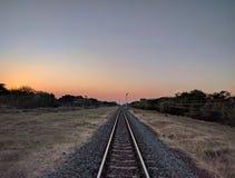 Railway at sunset royalty free stock photo