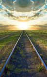 Railway at the sunset Stock Images