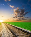 Railway at the sunset Royalty Free Stock Photo