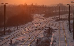 Railway at Sunset Stock Photo