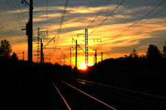 Railway at sunset Royalty Free Stock Images