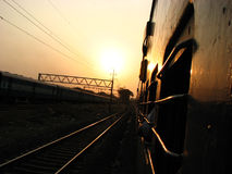 Railway Sunset. A view of a sunset from an Indian Railway bogey Stock Photography
