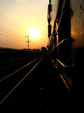Railway Sunset Royalty Free Stock Photos