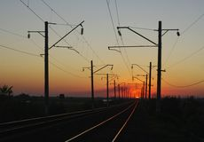 Railway. Sunset. Horizon. Evening. Wires. Perspective Royalty Free Stock Photo