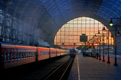 Railway sunset in Moscow. Image of the Kievsky railway station in Moscow Royalty Free Stock Photo