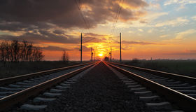 Railway at sunset Stock Photography